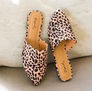 Shoes - Cheetah leopard slip on flats pointed mules